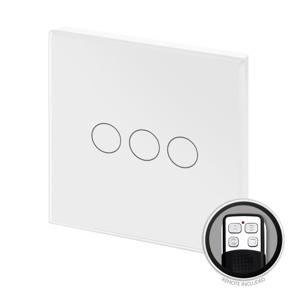 RetroTouch Touch & Remote On/Off Light Switch 3 Gang 1 Way White Glass PG 00362